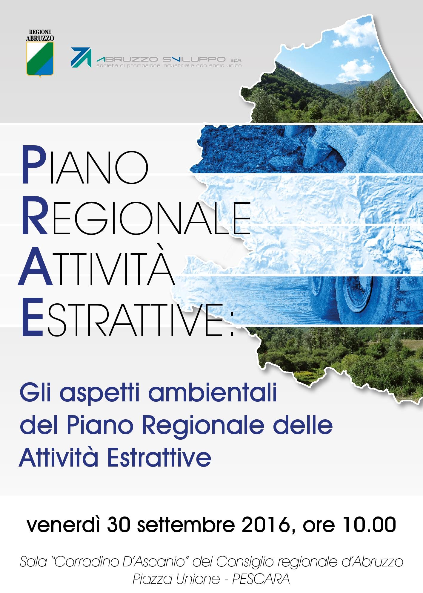 """Abruzzo. Il 30 settembre a Pescara il seminario """"Gli aspetti ambientali del Piano Regionale Attività Estrattive"""""""