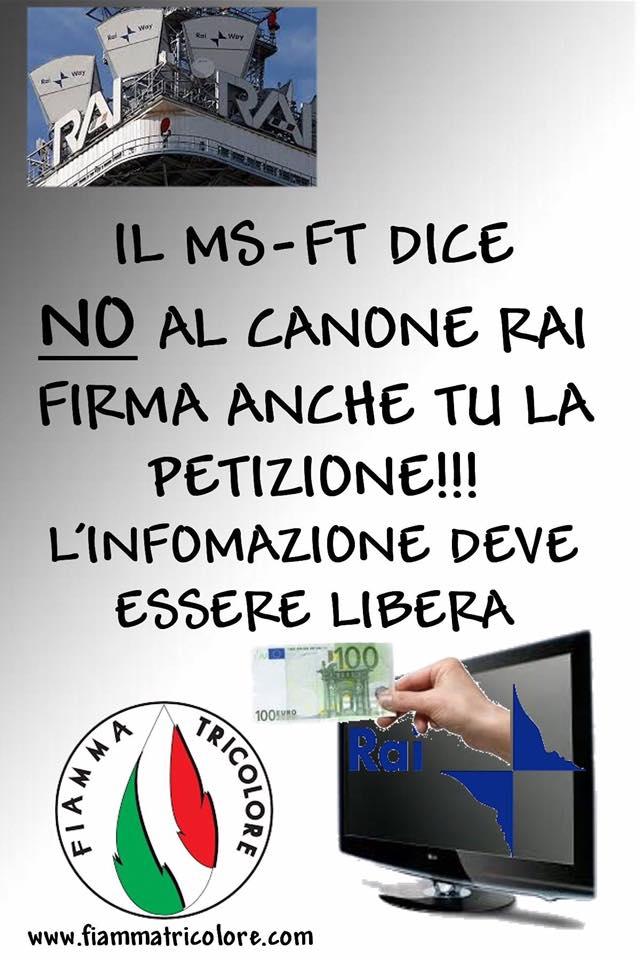 """""""Fiamma Tricolore"""" organizza banchetti informativi sul Referendum """"Trivelle"""" e raccolta firme contro il """"Canone RAI"""""""