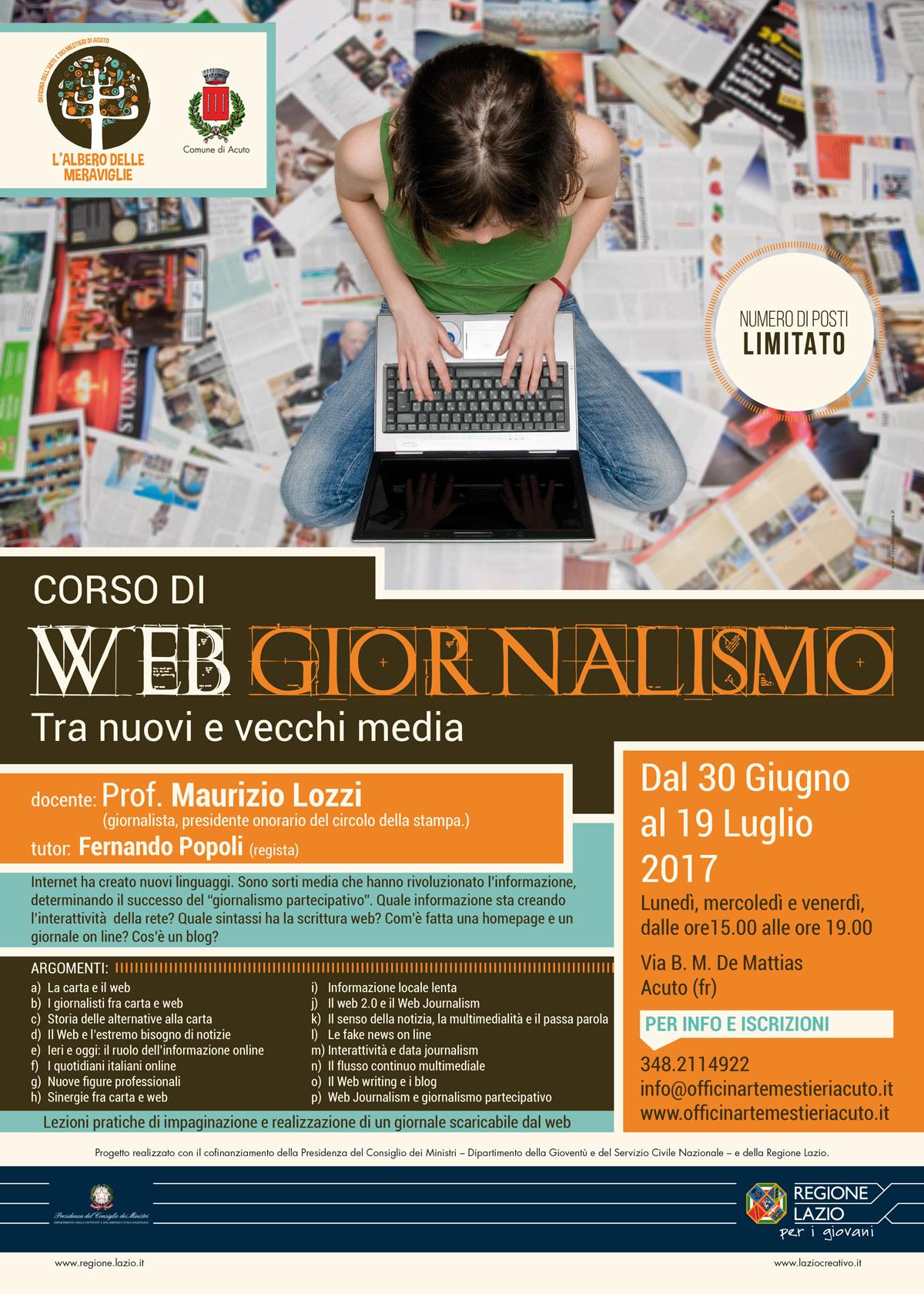 """""""Corso di web giornalismo, tra nuovi e vecchi media"""", all'Albero delle Meraviglie, l'Officina dell'Arte e dei Mestieri di Acuto."""