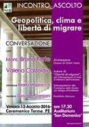 """Venerdi 12 agosto a Caramanico Terme (PE) l'incontro ascolto """"Geopolitica, clima e libertà di migrare"""""""