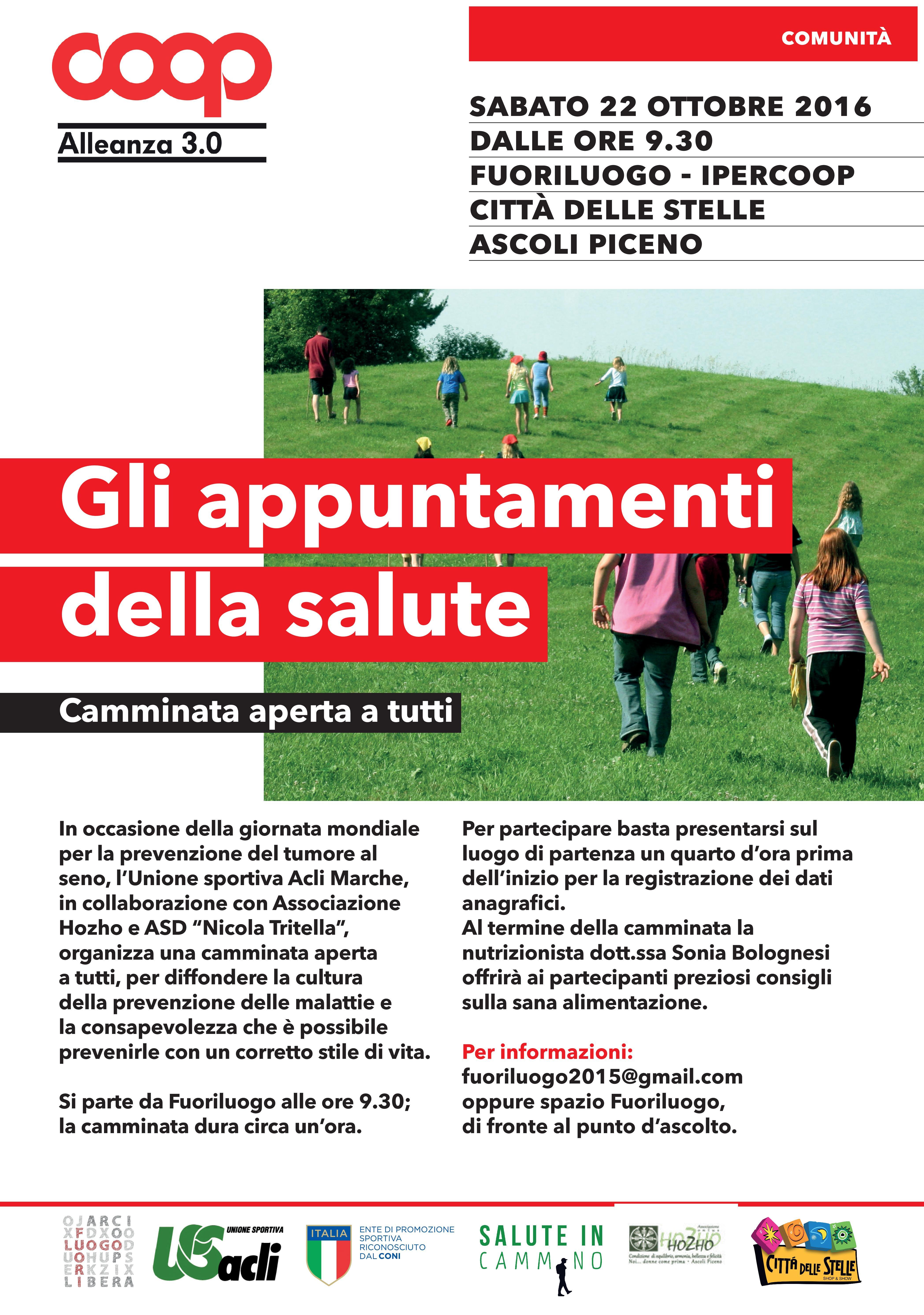Il 22 ottobre si cammina per la salute ad Ascoli Piceno