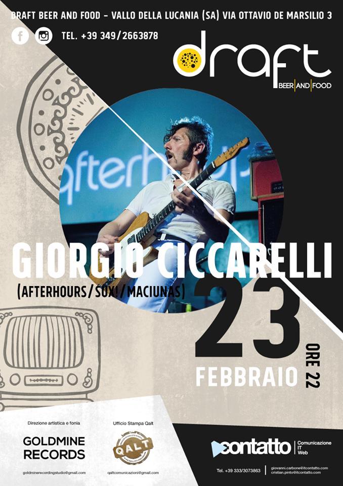 [Vallo della Lucania (SA)] Giorgio Ciccarelli (ex Afterhours) dal vivo al Draft giovedì 23 febbraio