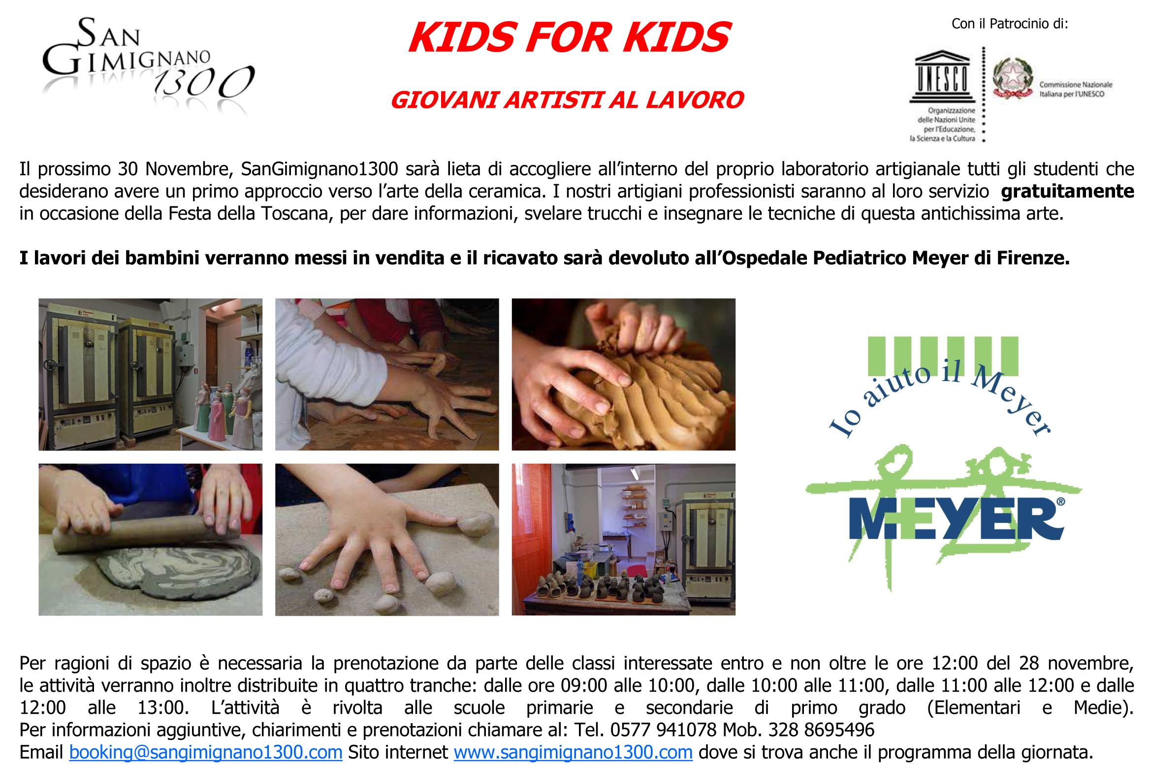 KIDS FOR KIDS – GIOVANI ARTISTI AL LAVORO PER IL MEYER
