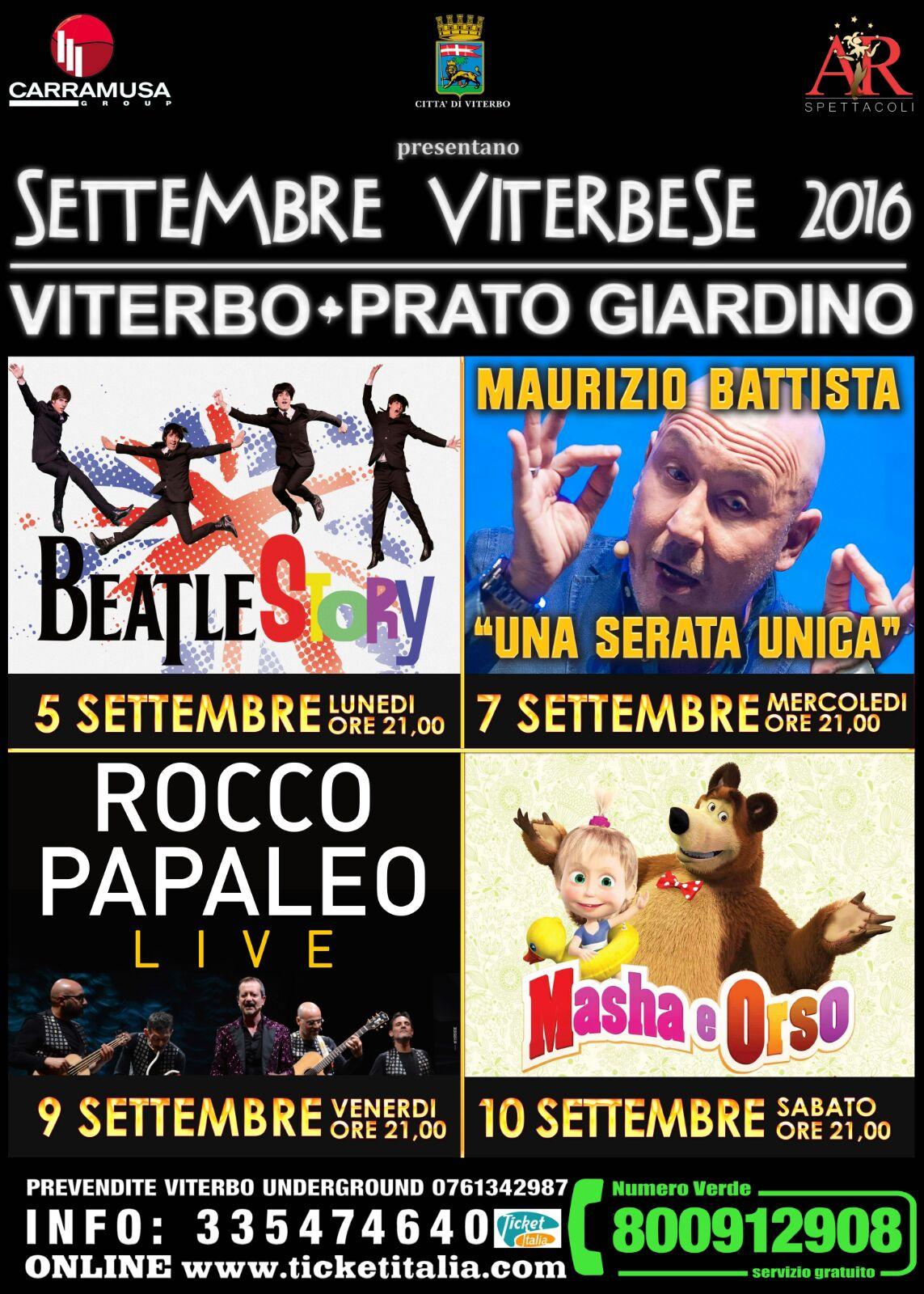 Beatles, Battista, Papaleo e Masha e Orso, poker d'assi per il Settembre Viterbese