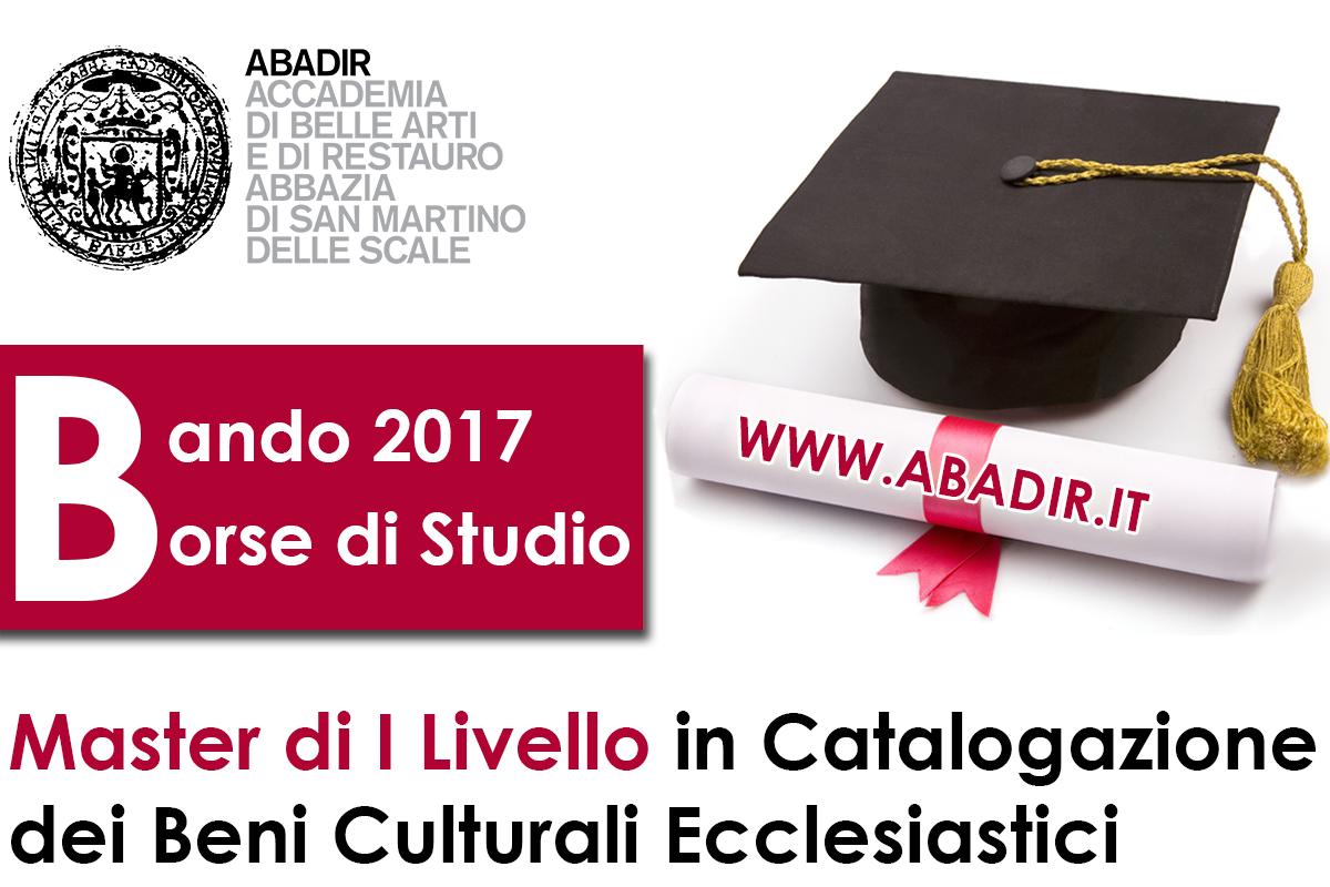 ABADIR   Borse di Studio 2017 per Master Universitario di I Livello in Catalogazione dei Beni Culturali Ecclesiastici