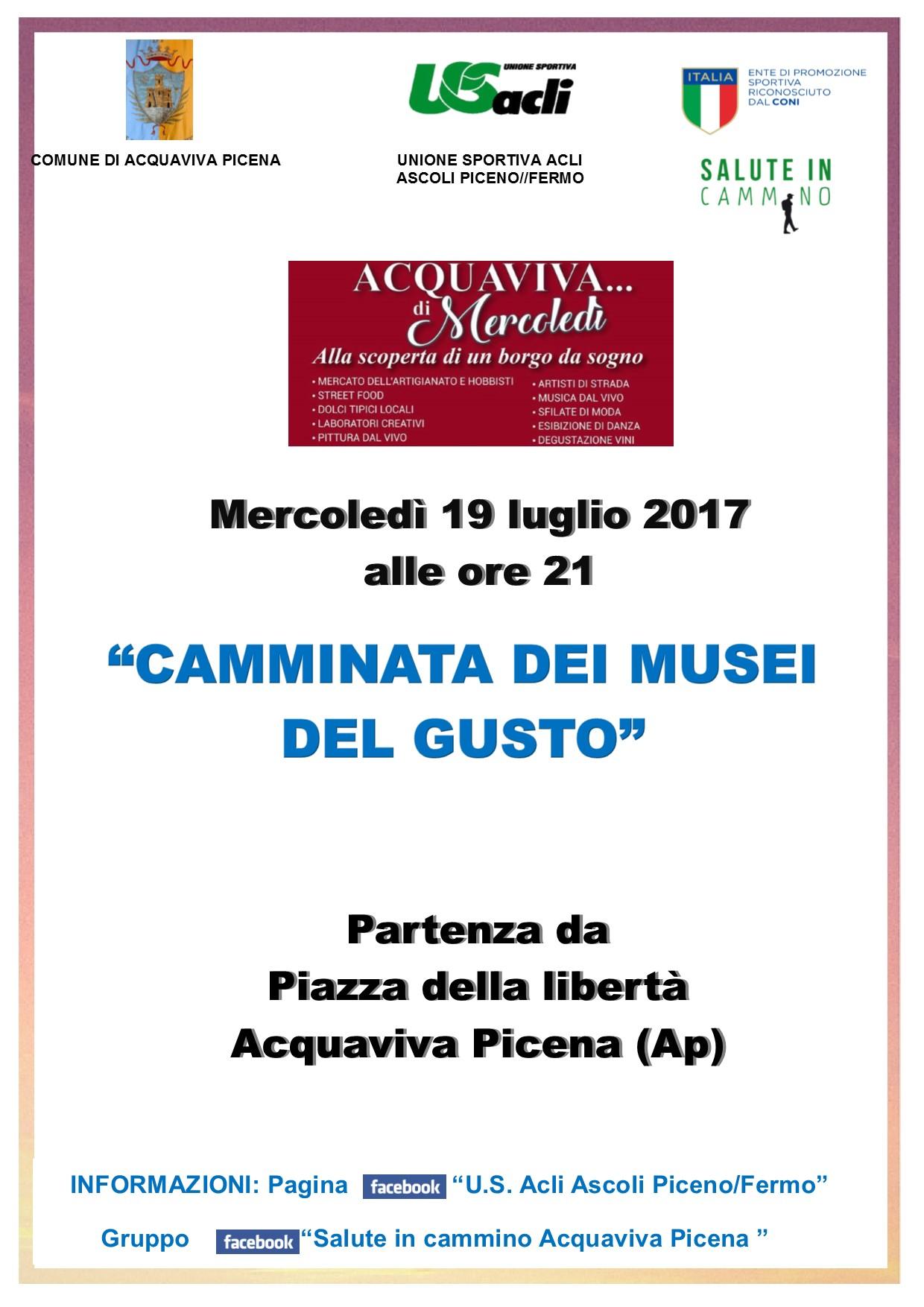 """Il 19 luglio la """"Camminata dei musei del gusto"""" ad Acquaviva"""