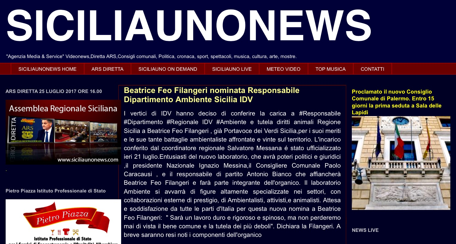 Dipartimento Ambiente IDV Sicilia a Beatrice Feo Filangeri