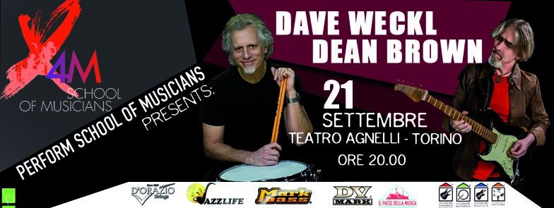Il 21 settembre il batterista Dave Weckl e il chitarrista Dean Brown saranno ospiti del noto centro di formazione X4M - Perform School of musicians. L'evento si svolgerà presso il Teatro Agnelli di Torino.