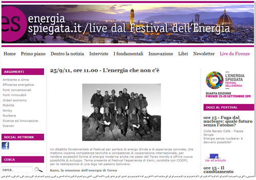 Flavio Cattaneo - Terna presenta al Festival dell' Energia l'esperienza di Kami, condotta con COOPI