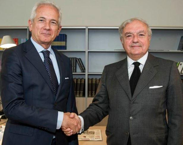 """Giuliano Molossi Direttore de """"Il Giorno"""" - Incontro con Achille Colombo Clerici - Visita del Presidente di Assoedilizia al nuovo Direttore."""